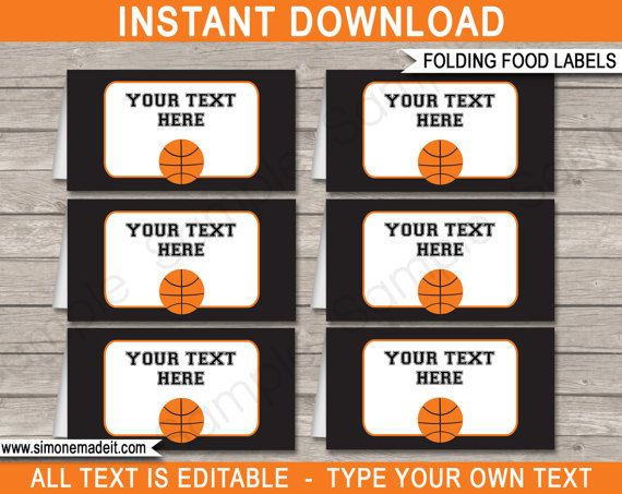 Basketball Food Labels  Buffet Tags  Tent Cards  Basketball
