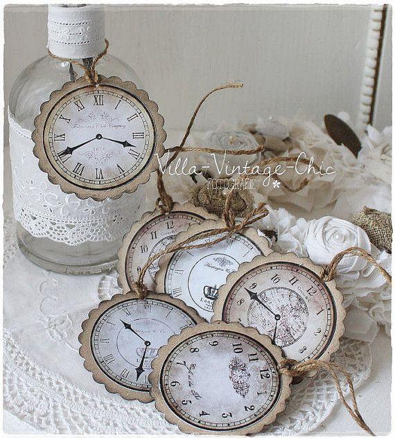 Uhren shabby große Geschenkanhänger Dekohänger von VillaVintageChic
