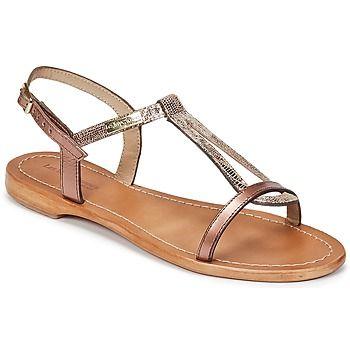 Nouvelle signature pour Les Tropéziennes par M Belarbi avec cette sandale de couleur bronze. C'est une parfaite association de matières qui compose la Hamat avec des brides et une semelle en cuir.   Le complément idéal d'une tenue estivale !  - Couleur : Bronze - Chaussures Femme 53,90 €