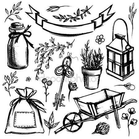Sada zahradního nářadí a květinek — Stocková ilustrace #70060397