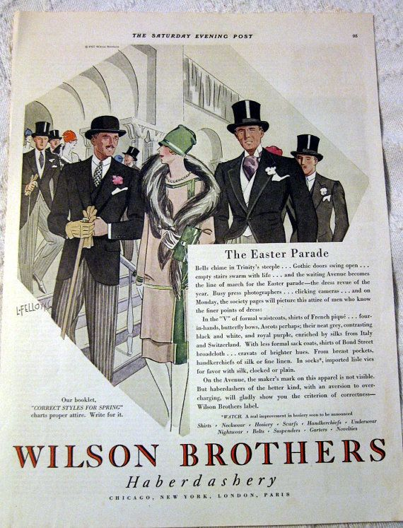 1927 Wilson Brothers Haberdashery Ad Men in Hats by BettyinParis, $10.00