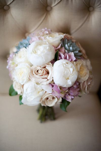 Peonies, roses, and succulents! Beautiful. {Cynthia Michelle Photography}
