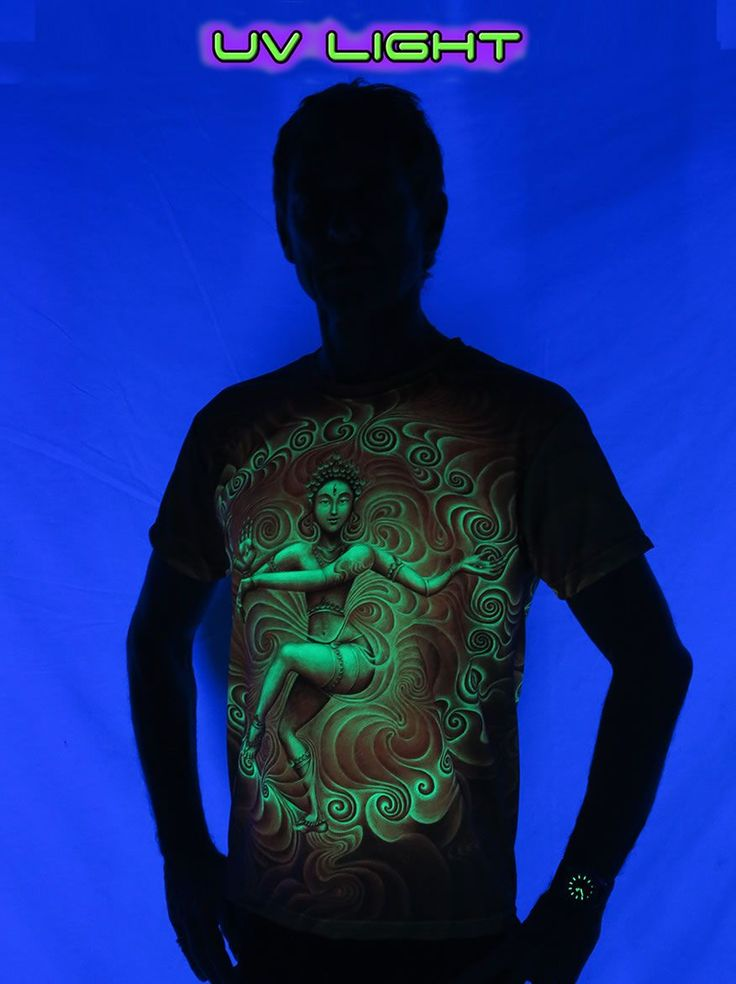 "UV Sublime S/S T : Nataraja Fire Dance UV  Fully printed short sleeve T shirt.  This shirt is an ""All Over"" printed T shirt that will really grab people's attention.  The design is printed using sublimation printing on a high quality UV Yellow polyester / Dri-Fit blended shirt.  UV active - Glows under black light !  Artwork by Lauren Nova"