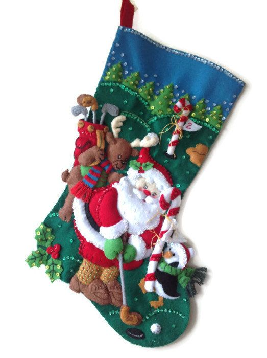 Finished Bucilla Christmas Stocking Golfing by PinsandNeedles0, $94.95