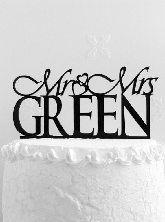 Mr and Mrs Green Wedding Cake Topper Personalized with Last