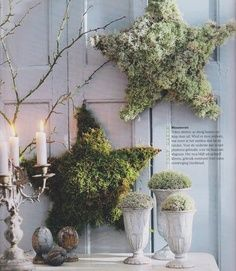 Christmas rustic decor Can make these with reindeer moss in North Florida.