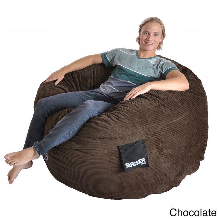 Slacker Sack 5 Foot Round Corduroy Bean Bag Chair Black Size Large Cotton