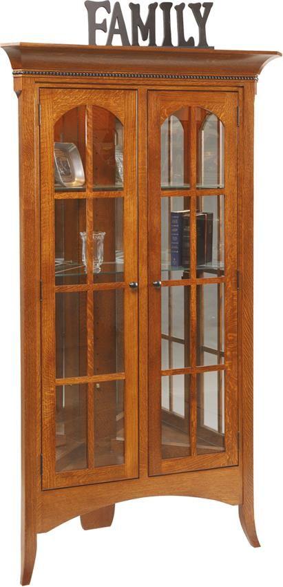 Amish Bunker Hill Corner Curio Cabinet Amish Cabinets