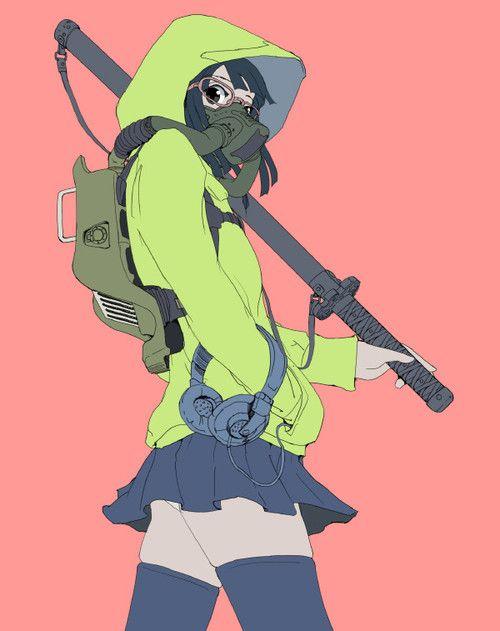 anime, gas mask, pastel, and girl image