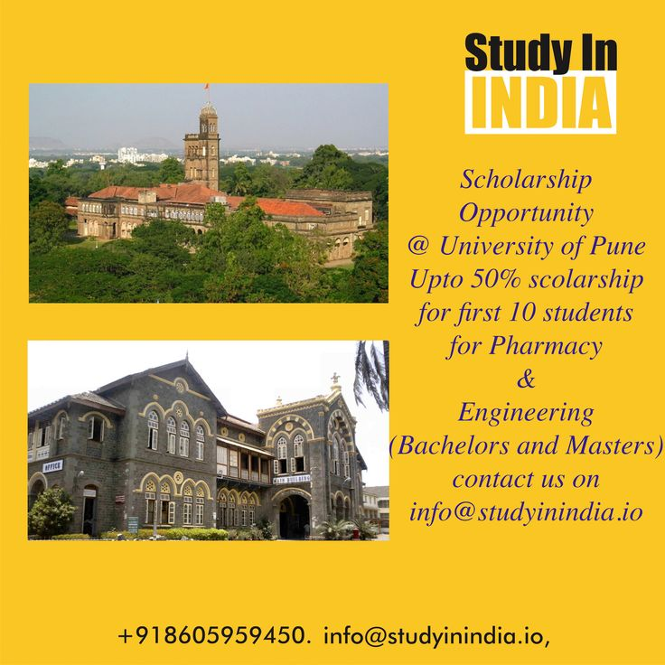 #Scholarship opportunity for #first 10 Students want to #Study University of Pune especially for #Pharmacy #Engineering #StudyinIndia #50%Scholarship #بورس تحصیلی #منحة دراسية #стипендия visit us on www.studyinindia.io or contact us through info@studyinindia.io