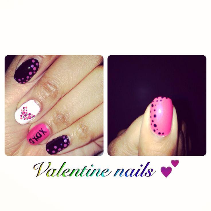 Valentines nails black & pink
