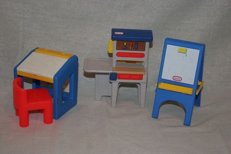 Captivating LOT Vintage LITTLE TIKES Dollhouse Furniture Work Bench Tool  Bench,Desk,Easel