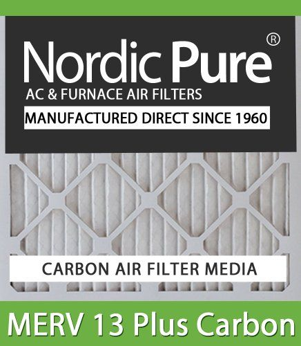 Nordic Pure 20x25x4M13+C-1 MERV 13 Plus Carbon AC Furnace Air Filters, Qty-1 Actual Size of Carbon Air Filter: 19 1/2 x 24 1/2 x 3 5/8. Odor absorbing activated carbon. One convenient air filter-MERV 12 pleated plus activated carbon. A simple solution for controlling both odors and dust particles. Nordic Pure Manufacturer Direct Since 1960-Made in the USA.  #Nordic_Pure #Home_Improvement