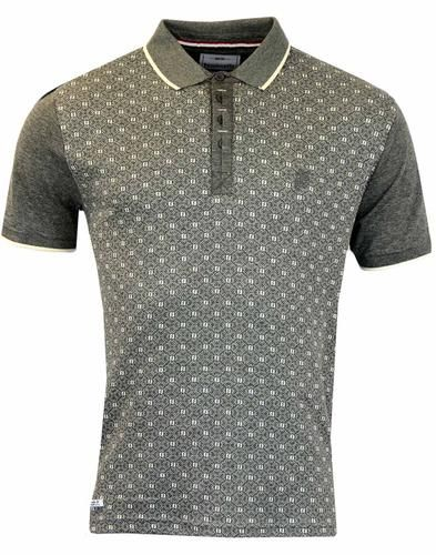 LAMBRETTA Jacquard Panel Retro Mod Polo in Grey