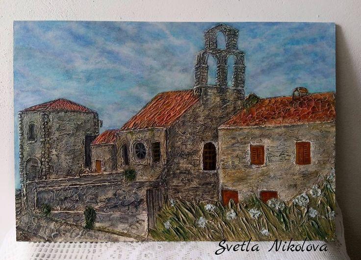 """15 Likes, 3 Comments - Svetla Nikolova (@svetla.nikolova.handmade) on Instagram: """"Картина ,,Старият град Будва""""- обемна, скулптурна живопис.,,Old town Budva""""-sculpural painting #art…"""""""
