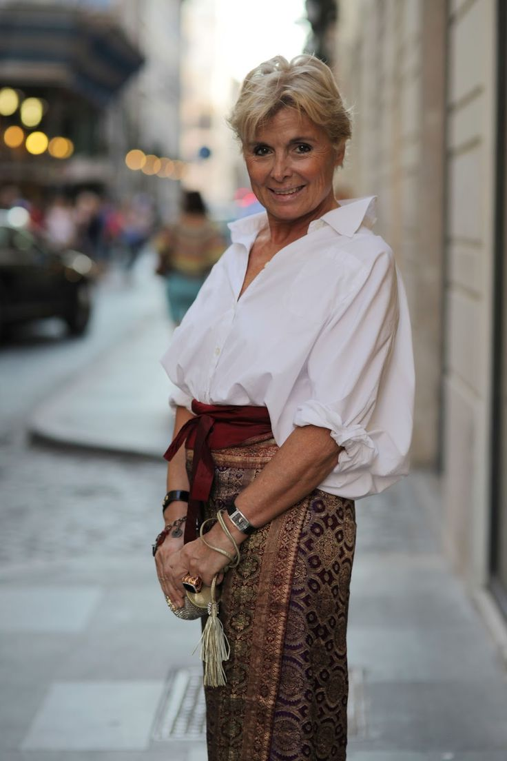 tailored white shirt and patterned skirt