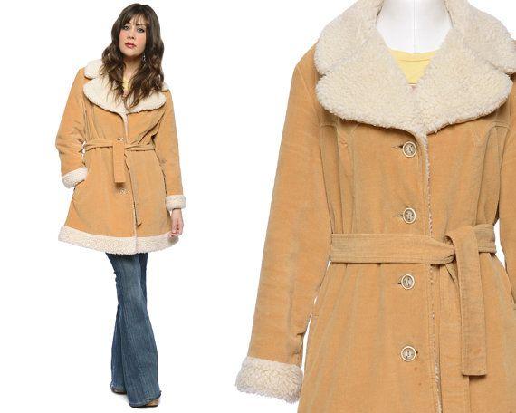 Shearling Coat 70s Tan Corduroy Faux Fleece by GravelGhostVintage, $48.00