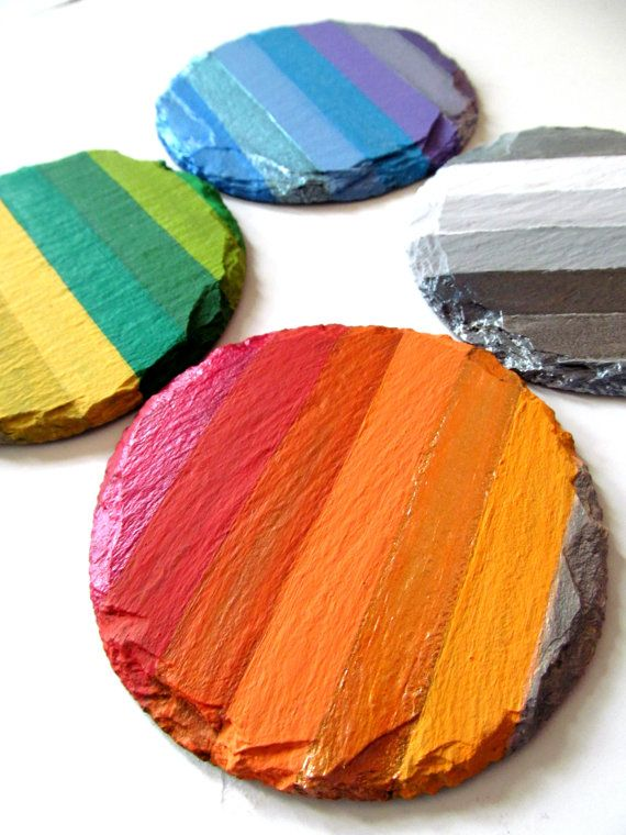 Rainbow Hand painted slate Coasters set of four by PearlesPainting, $42.00