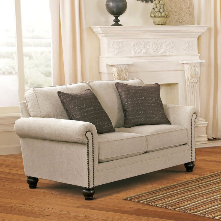 Ashley Deals: Milari Linen Loveseat With Nailhead Trim