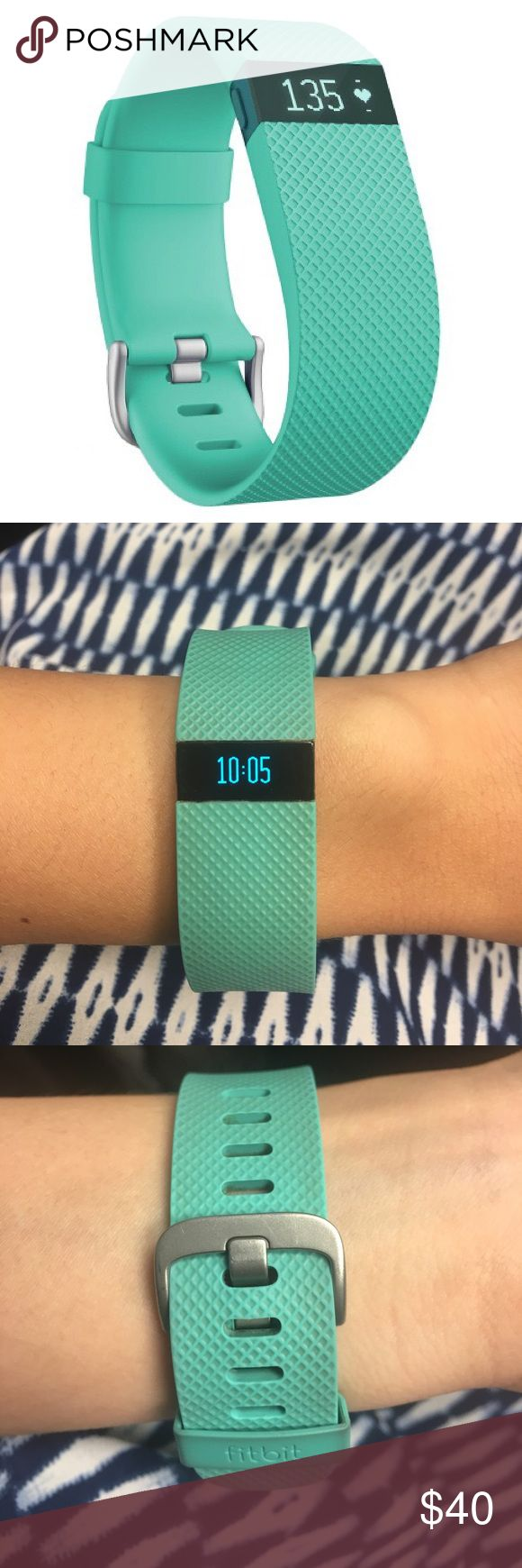 FitBit Charge HR | Turquoise PREOWNED Fitbit Charge HR Fitness Tracker and Heart Rate Monitor (comes with charging equipment)   Monitors heart rate from the wrist Gives feedback on heart rate zones Tracks distance, calories burned, active time, floors climbed, and steps  Monitors sleep patterns  Integrates with Smartphones  OLED display shows notifications, stats, and time Shows caller names and number Syncs wirelessly and automatically to computer  Some signs of wear on face and on slider…