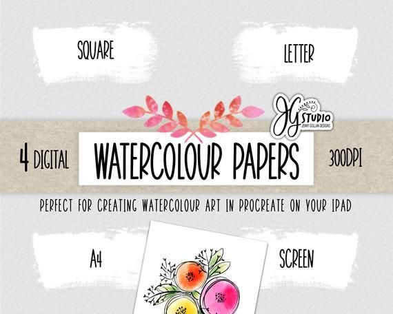 Digital Watercolour Paper For Procreate Watercolour Art And