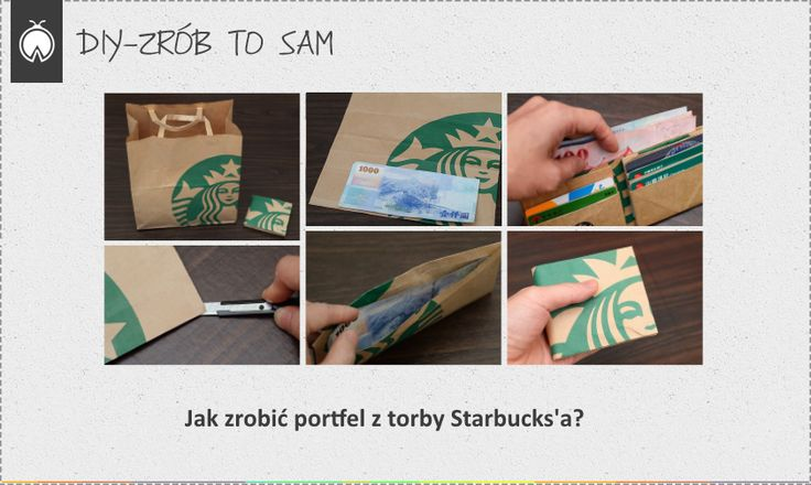 Jak zrobić portfel z torby Starbuck's?   http://dekoeko.com/jak-zrobic-portfel-z-torby-starbucks/   Czytaj więcej na www.dekoeko.com