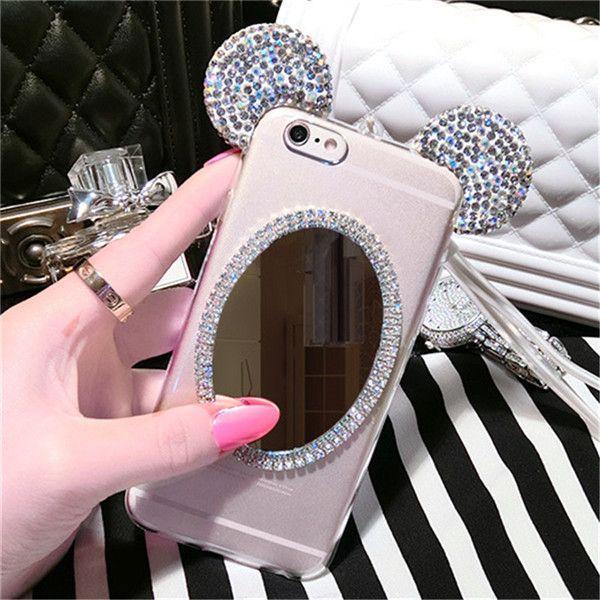buy popular dd770 e0ce4 3D Diamond Mirror Glitter Mickey Ears Rhinestone Clear Phone Case ...
