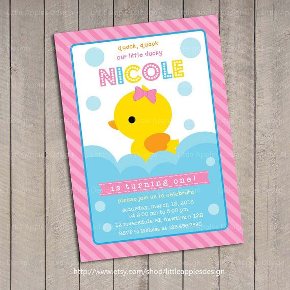 Duck Invitation / Rubber Duck invitation / Rubber Duck Birthday / Rubber Duckie Birthday / first birthday invitation