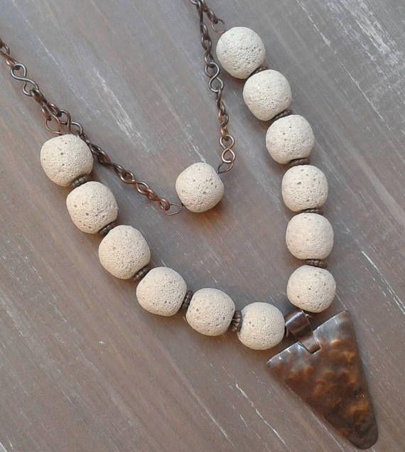 OOAK-Collana rame gioielli rame lava pietre laviche rame