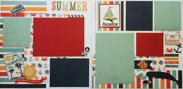 This page kit comes with everything pre-cut and ready to glue. All you have to do is follow the color picture inside Kit Double Page 12x12 Layout. This page kit titled Summer created by Karen Petersen