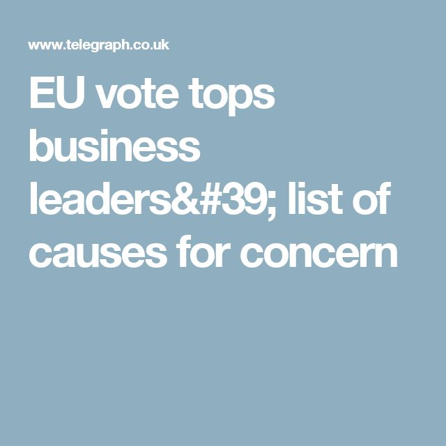 EU vote tops business leaders' list of causes for concern