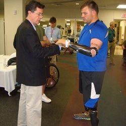Stephen Colbert recently visited injured soldiers at Walter Reed's Military Advanced Training Center, organised by the Yellow Ribbon Fund.
