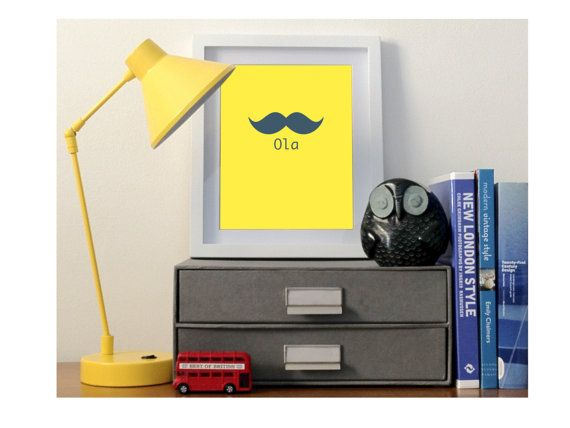 Bright Yellow Moustache 8x10 Poster Print by helenrobin on Etsy, $20.00