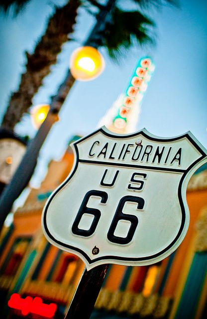 U.S. Route 66 sign along Sunset Boulevard at the Disney-MGM Studios in Walt Disney World
