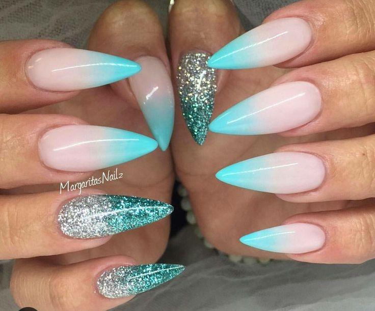 Ombre stiletto nails with glitter