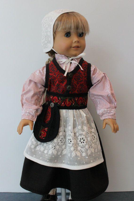 Costume de Style nordique en rouge et noir pour la poupée de 18 pouces, C178