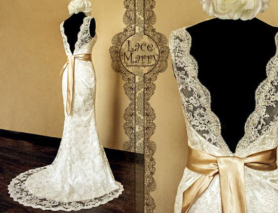 Deep V-Cut Back Vintage Style Lace Wedding Dress Features Illusion Neckline and Satin Sash  This is the wedding dress I wanted!!!! When Eric and I renew our vows some day I'm wearing this!!!