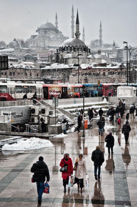 Istanbul, Emınonu - Rustem Pascha Mosque (Front) & Suleymaniye Mosque (Back).