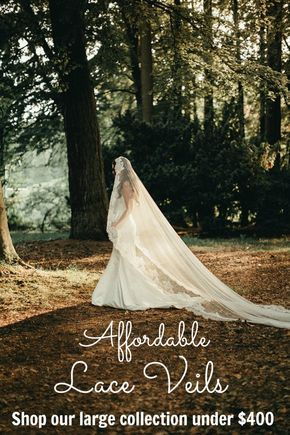Lace veils, mantilla style, available in fingertip and cathedral lengths. We also do custom lengths too! Click to view and shop our collection!
