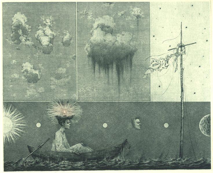 iamjapanese: Konstantin Kalinovich(Russian/Ukrainian, b.1959) Museum of Clouds 2000 Etching, dry point, mezzotint