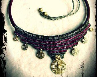 Brass Spiral Tribal Necklace  Macrame Brown Olivegreen Choker