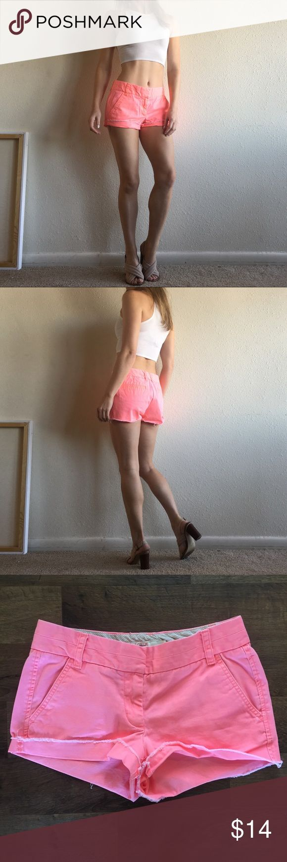 J. Crew Hot Pink Peach Shorts The perfect summer shorts in such an amazing statement color. I love these. J. Crew Shorts