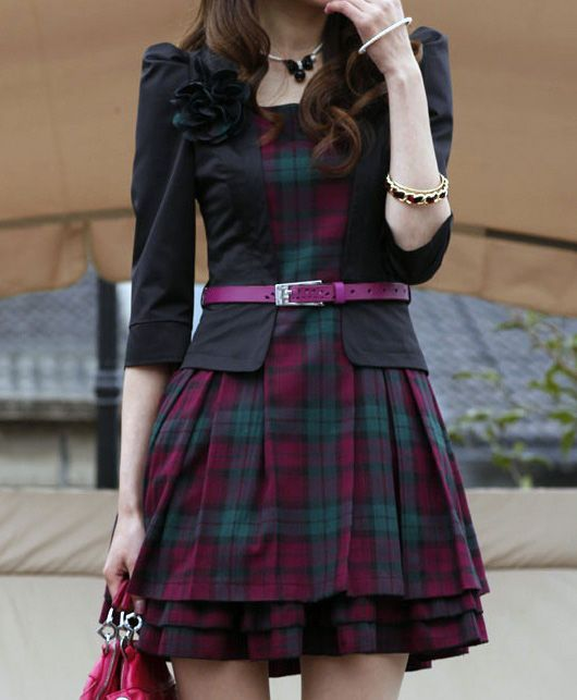 women's dress Scottish tartan black top and pink & green skirt in one piece.