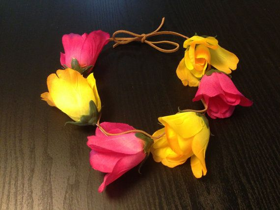 Strawberry Banana Tulip Floral Crown by taralynnm on Etsy