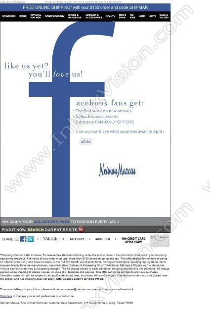 51 best email designs facebook integration images on pinterest brand neiman marcus inc subject show us love on facebook pronofoot35fo Gallery