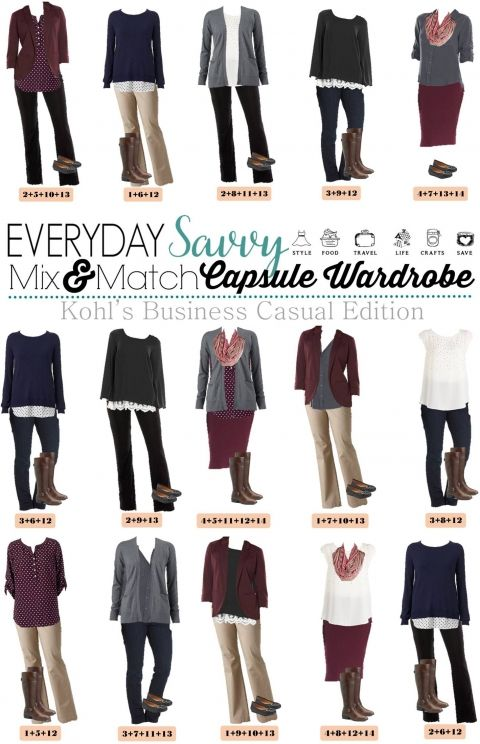 Here is a new board of Kohls Business Casual Fall Outfits.  These pieces mix and match for 15 great outfits that will have you looking great this fall.  With just a few basic pieces, you can get ready for work in no time at all.