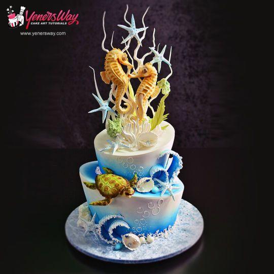 Underwater Scene Cake with Seahorse Couple Topper