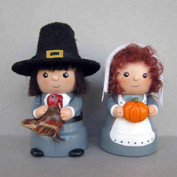 Thanksgiving Pilgrim Couple Flowerpot Bell by sanquicreations, $19.99