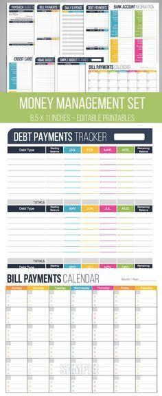 Money Management Set - Editable, Financial Printables, Bill Organizer, Money, Budget Planner, Checklist, Household Finance, INSTANT DOWNLOAD #afflink #daveramsey #budgeting #planner