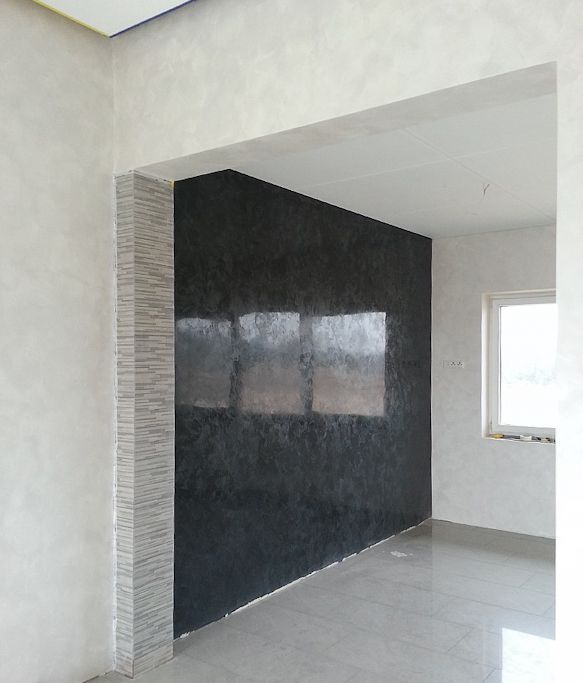 Black Venetian Plaster Perlata Satin Finish Decorative